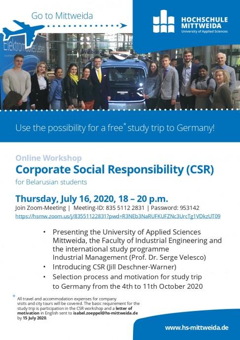 Online Workshop Corporate Social Responsibility (CSR) for Belarusian student